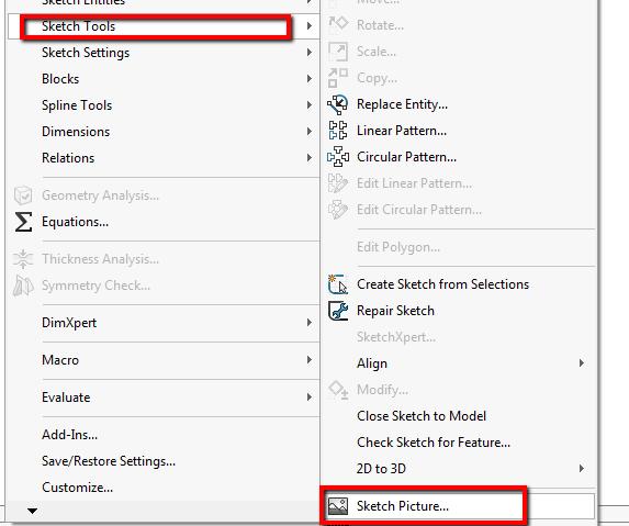 BLOG: Uvoz slik v SOLIDWORKS skice in uporaba funkcije